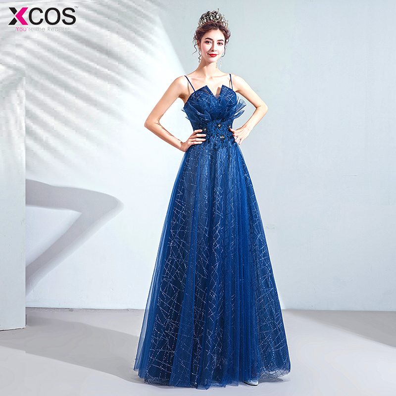 Beading   Prom     Dresses   2019 Sweetheart Blue Tulle Sweep Train Sleeveless Evening Gown A-line Lace Up Backless Vestido De baile