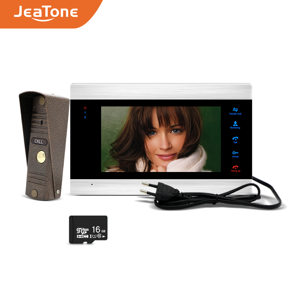 JeaTone 7 inch Monitor 1200TVL Bronze Doorbell with 16G sd Card Video Doorphone Intercom System <font><b>Ship</b></font> from Russian Home Security image