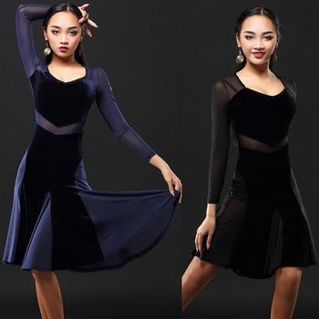 2020 latin dance dress women net skirt salsa dress tango rumba adult ballroom latin dance competition costumes