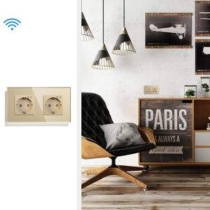 Image 5 - Enchufe de pared de la Unión Europea inteligente Wifi, 16A, cristal de cristal, enchufe eléctrico, Panel de salida, interruptor remoto, funciona con Tuya, Alexa y Google Home