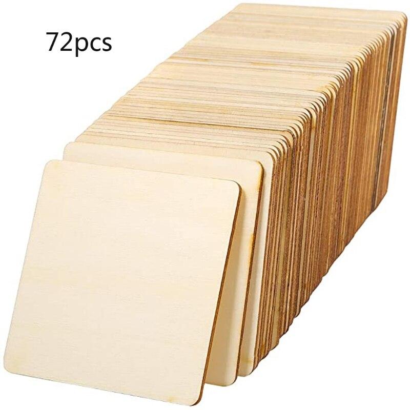 72 peças de madeira quadrado inacabado fatias em branco artesanato 3x3 Polegada para coasters pintura escrita adereços foto e decorações