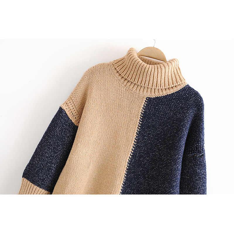 패션 za 여성 스웨터 2019 겨울 여자 터틀넥 스웨터 빈티지 블록 컬러 점퍼 긴 소매 니트 풀오버 숙녀