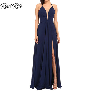 Real Rill V-Neck Spaghetti Straps Side Split Prom Dresses Chiffon Lace Up Back Formal Gown Floor Length A-Line Long Party Dress фото