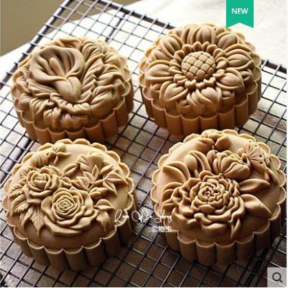 Novo produto molde de cozinha tridimensional espessamento mid-autumn mooncake molde pressão da mão 4 peças 150g 125g 100g