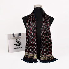 [Bysifa] novo marrom masculino lenço de seda gravata engrossar moda grau superior 100% seda masculino pescoço cachecol inverno longo cachecóis cravats 165*24cm