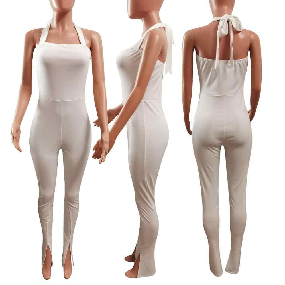 Zarif Halter yığılmış Rompers bayan tulum seksi Backless bandaj Slite Hem Flare pantolon tayt Bodycon vücut tulum kadınlar