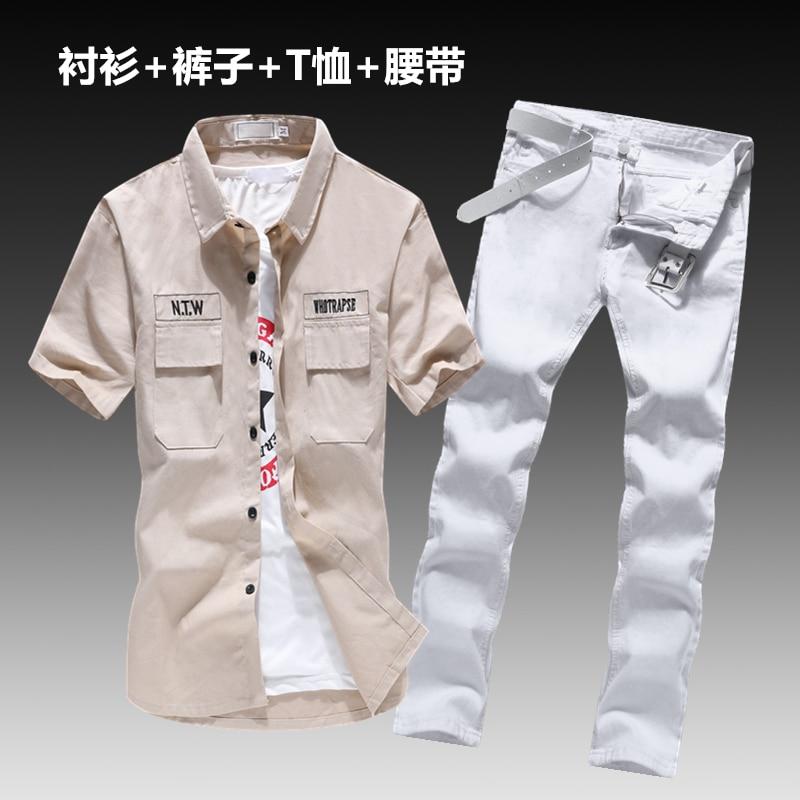 Short Sleeve T-shirt Men's Jeans Pants 2pcs Set Cotton Blouse Casual Cargo Style Long Trousers Size S-XXL With Belt&Shirt E12