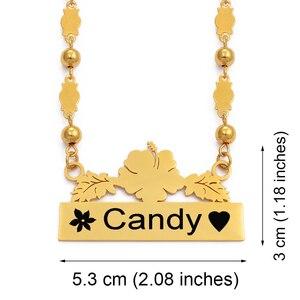 Image 2 - Anniyo אישית שם שרשרת עגילי מיקרונזיה גואם הוואי פרח תכשיטי סטי עבור הדפסת מכתבי יום הולדת מתנה #116621