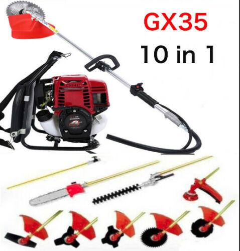 New Model GX35  Knapsack 10 in 1  Multi Brush Cutter Pole Chain SawLong Reach Hedge Trimmer 6 in 1China 4-stroke engine