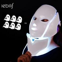 Máscara facial led 7 cores fóton terapia de luz máscara led com pescoço rejuvenescimento da pele anti-rugas acne clareamento tratamento de beleza