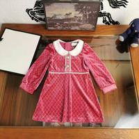 Luxury Brand New Design Girls Velvet Dresses Christmas party kids clothes 2 Color