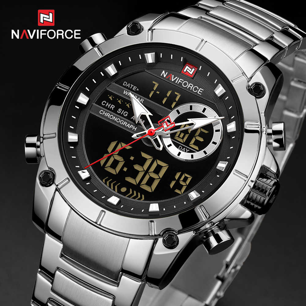 NAVIFORCE Silver Stainless Steel Men Army Military Dual Display Quartz Led Clock Male Waterproof Watches relogio masculino 9163