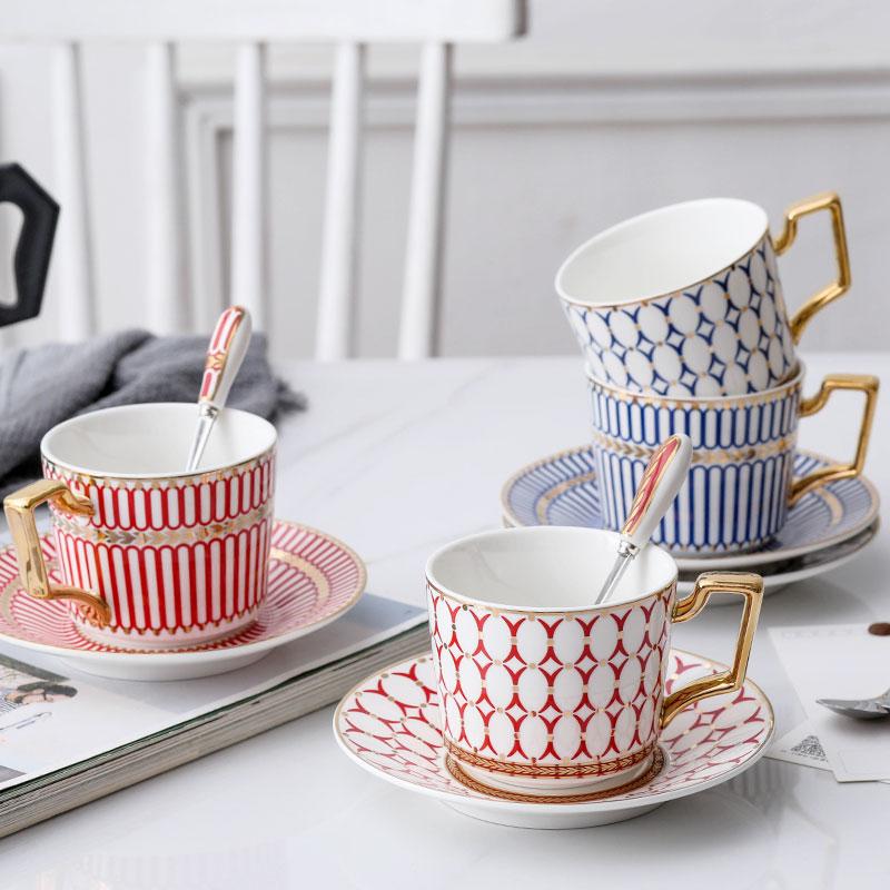 Nordic tea set coffee cup saucer set spoon high grade striped ceramic  teapot coffee shop drinking set English afternoon tea set|Coffee Cup &  Saucer Sets| - AliExpress