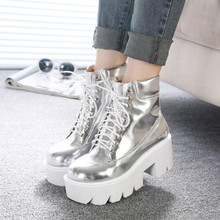 2019 Womens Shoes Classic Martin Boots Wedges Ankle Square Heels Sliver Lace-up Platform