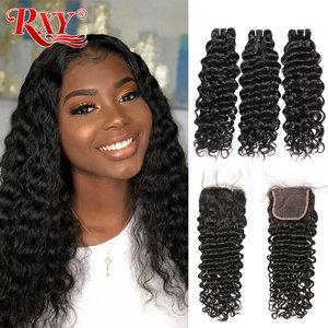 Peruvian Deep Wave Bundles With Closure 100% Human Hair Extension 3 Bundles With Closure Remy Hair Lace Closure With Bundles