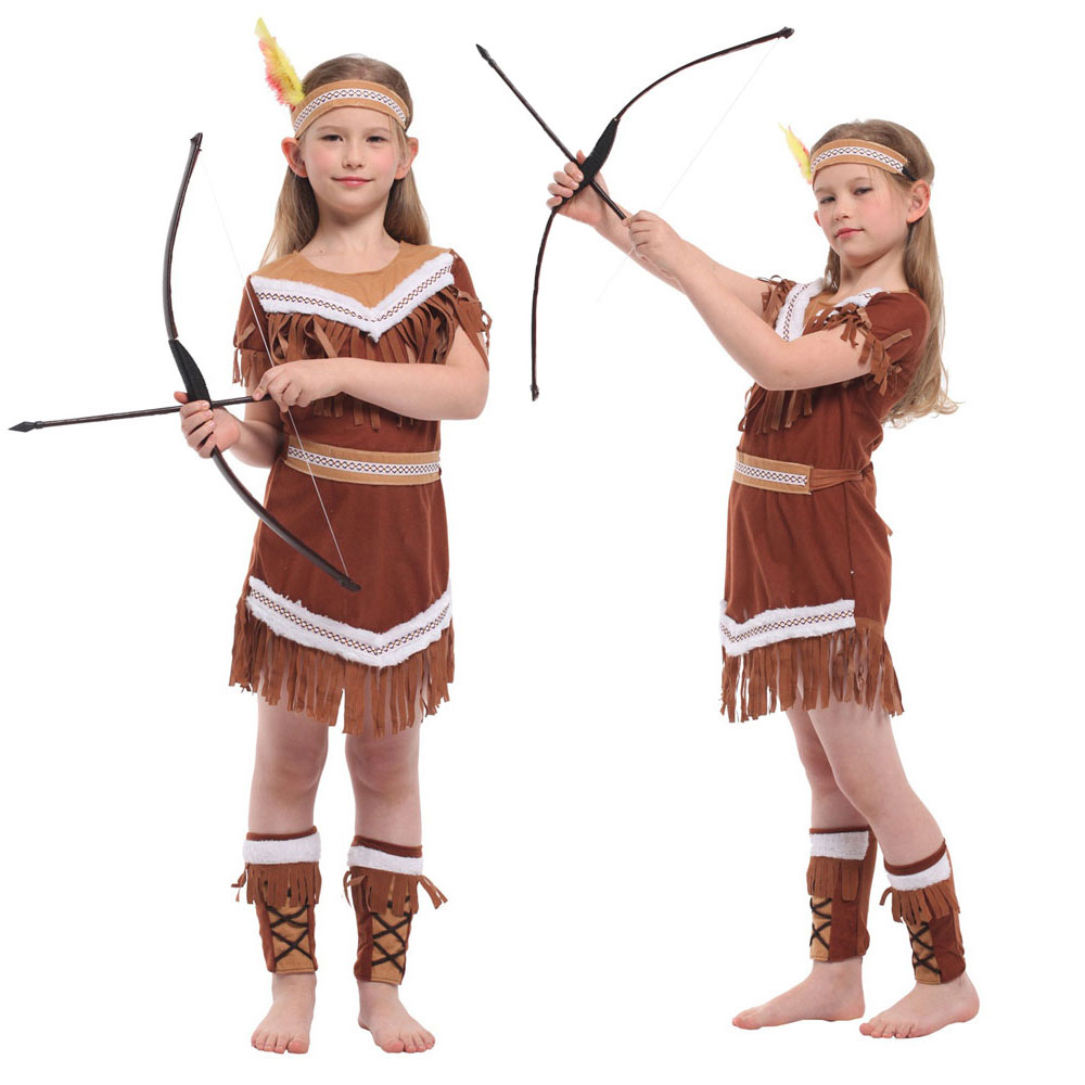 Umorden Halloween Costumes Kids Child Indian Princess Native Archer Huntress Costume Girls Purim Party Mardi Gras Fancy Dress
