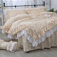 Juego de cama de flores rústicas para niña, twin full queen king algodón vintage único doble hogar textil cama falda funda de almohada funda de edredón