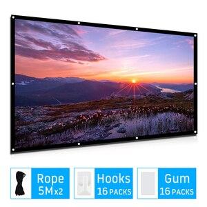 Tela portátil para projetor de 100/120 polegadas, 16:9 poliéster, tela filme para viagens, família, áreas externas, cinema, led dlp, tela de projeção