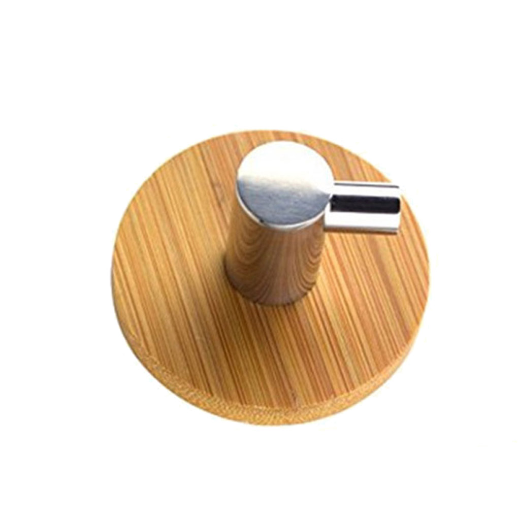 Adhesive Natural Bamboo Stainless Steel Hook Wall Clothes Bag Headphone Key Hanger Kitchen Bathroom Door Towel Rustproof Shelf