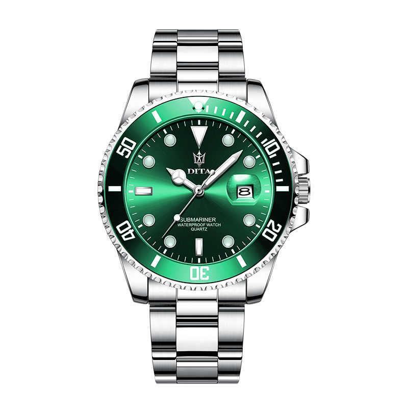 นาฬิกาควอตซ์ผู้ชายDITAWATCH TOPยี่ห้อLuxury 2020 สีเขียวกันน้ำนาฬิกาวันที่นาฬิกาข้อมือสีดำRelogio Masculino