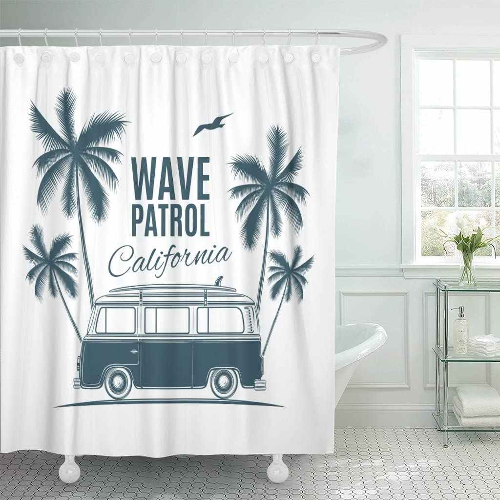 bus vintage retro surf van palms and