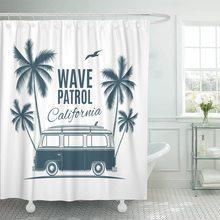 Bus Vintage Retro Surf Van Palms and Gull Cortina de ducha gráfica impermeable de poliéster tela 60x72 pulgadas Set con ganchos