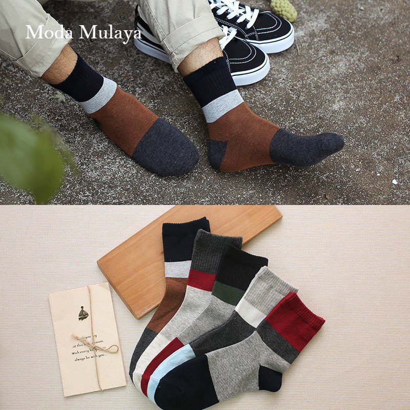 5 Pairs/Lot Autumn Winter New Men Cotton Crew Socks For Male Patchwork Colors Classic Business Men's Socks Dress Socks Man Meias