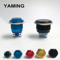 Interruptor de botón de Metal resistente al agua IP65, interruptor de oxidación autoreinicio momentáneo de 16mm/19mm/22mm, rojo, azul, negro, verde, amarillo, 1NO