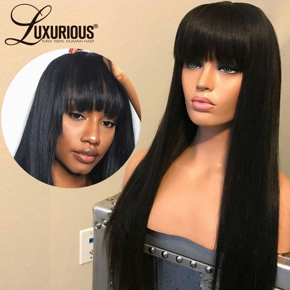 13x6 Lace Front Human Hair Wigs With Bangs For Black Women Brazilian Remy Straight Hair Lace Front Wig Natural Black Color