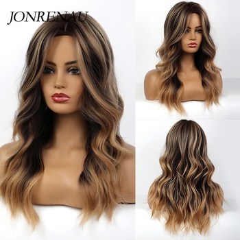 JONRENAU Syntheic Brown Ombre Highlights Wig for Black White Women Medium Length Natural Wave Hair  Wigs Heat Resistant Fiber - discount item  58% OFF Synthetic Hair