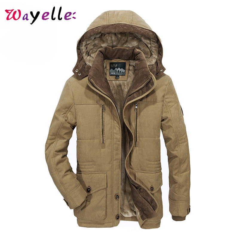 Men Winter Jacket Plus Thick Warm Coat Jacket Men's Casual Hooded Coat Jacket Size 4XL 5XL 6XL Solid Tide Men Utility Clothes