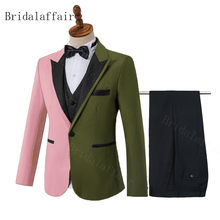 Bridalaffair 2020 New Pink&Army green Men's Suit 3 Pieces Double-Colors Notch Lapel Flat Slim Fit Casual Tuxedos For Wedding(China)