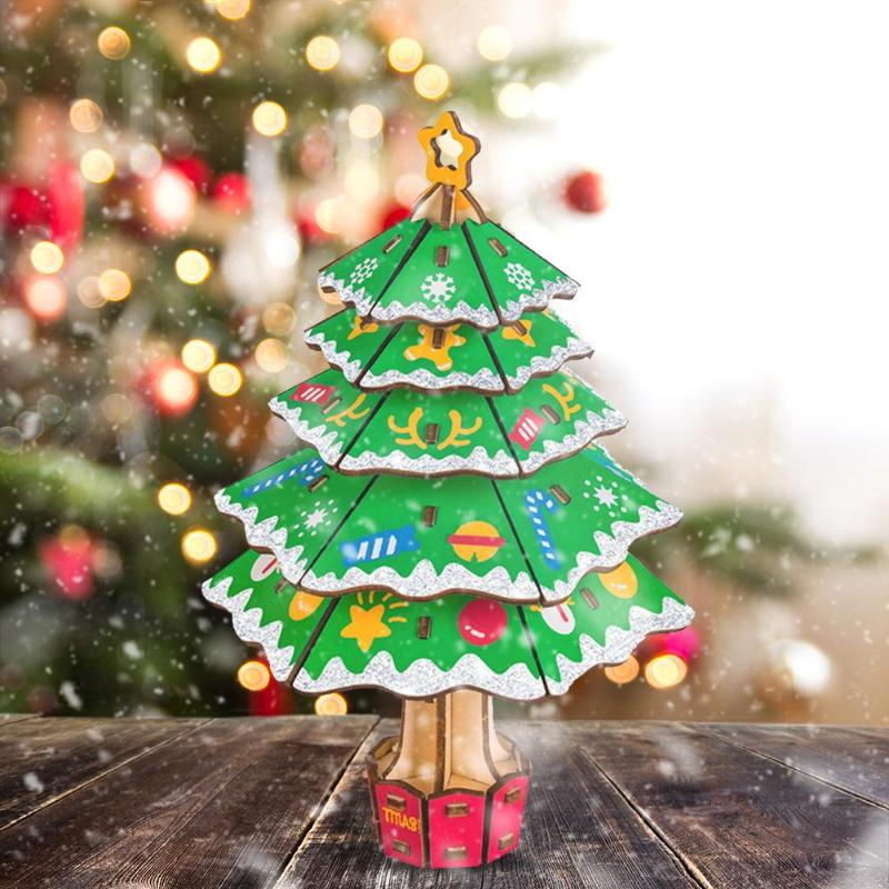 Durable Christmas Wood Puzzle Kit Wear-resistant Creative Jigsaw Puzzle Toy Children DIY Christmas Tree Decoration