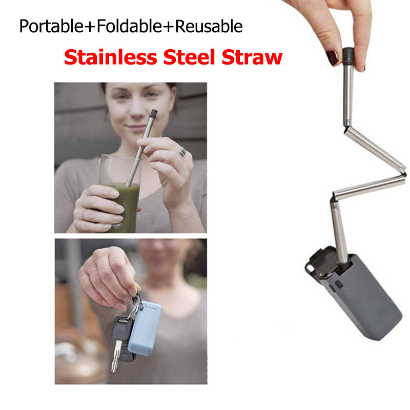 Reusable Folding Stainless Steel Straw Caffe Travel Household For Collapsible Straw Easy Cleaning