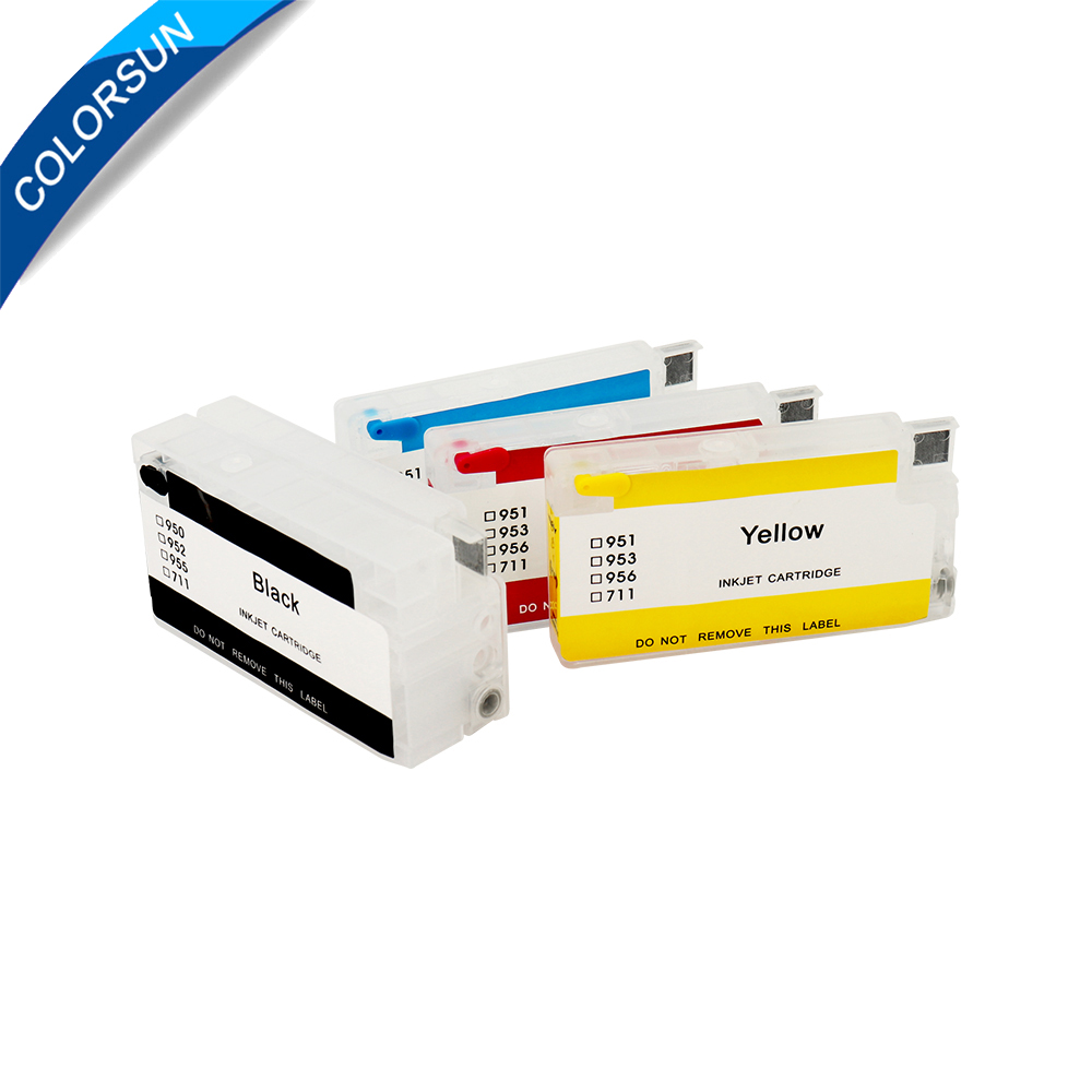 Colorsun For HP954 952 <font><b>953</b></font> 955 <font><b>Refillable</b></font> Ink Cartridge For <font><b>HP</b></font> OfficeJet Pro 7740 8210 8710 8720 8730 Printer with ARC chips image
