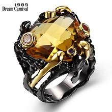 Dreamcarnaval 1989 Vintage noir or anneaux pour les femmes grande couleur brun clair CZ zircone fête de mariage bijoux de mode ZR14173
