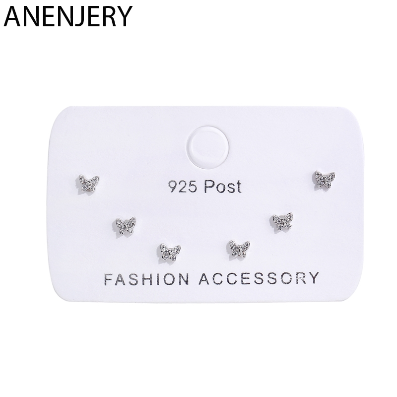 ANENJERY güzel 6 parça küçük küpe seti gümüş renk zirkon kelebek saplama küpe kadınlar için arkadaş hediye S-E1207