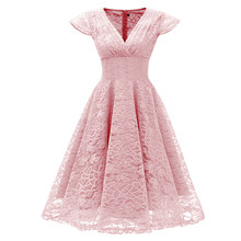 2020 Vintage Elegant Embroidery Floral Lace Patchwork vestidos A-Line Pinup Business Women Clothing Party Flare Swing Dress(China)
