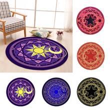 Diamètre 60cm tapis dessin animé Tarots ronds nappe pentagramme soleil lune Divination fête jeu de société tapis de Table