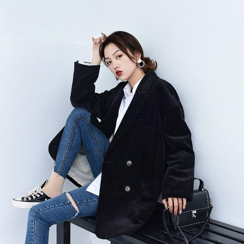 Women's Jacket Corduroy Blazer Women Clothes 2020 Korean Vintage Spring Women Blazers And Jackets Outwear OL Suit Tops ZT2326