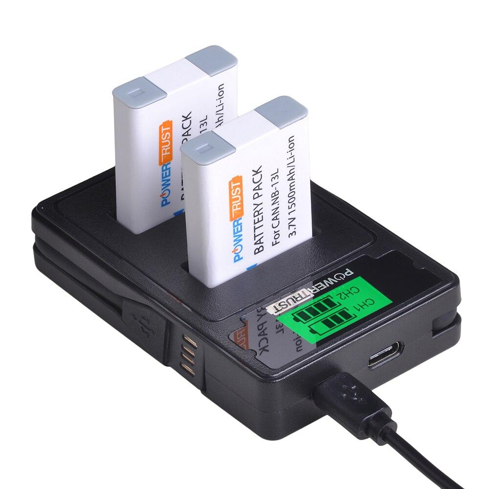 2x1500 mAh NB-13L NB13L NB Bateria + USB Carregador de LCD para Canon G7 13L X Mark II G7X baterias G5 X G5X G9 X G9X SX620 SX720 HS