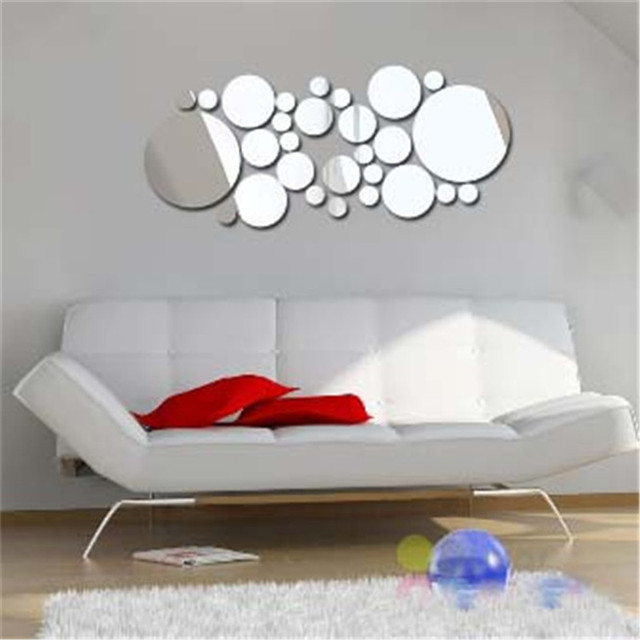 Geometric Circle 3D Stereo Removable Mirror Wall Sticker Home Background Decoration Home Decoration Accessories Round Mirror 4