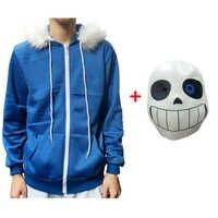 Sans Undertale sweat à capuche de cosplay Latex masque frais squelette veste sans plus velours à capuche pull avec fermeture à glissière animation jeu tenue