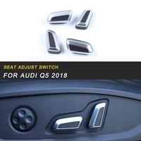 Memória assento Ajustar Botão Interruptor Chrome Tampa Guarnição Quadro Etiqueta Acessórios Interior para Audi Q5 FY 2018 Car Styling|adesivos automotivos internos| |  -
