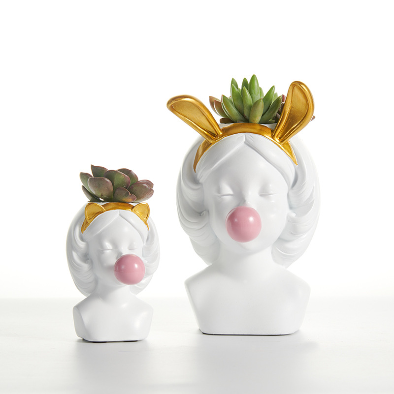 Nordic Resin Vase Human Head Lovely Bubble Gum Girl Rabbit Cat Flower Arrangement Modern Home Decoration Flower Pot Wedding