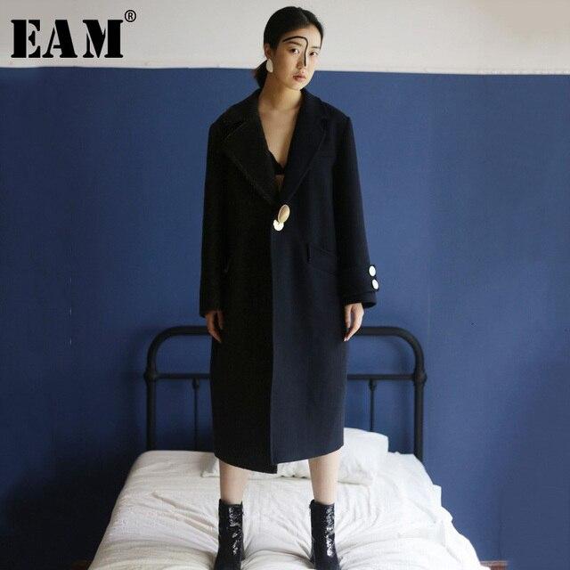 [EAM] Loose Fit Single Button Split Joint Big Size Woolen Coat Parkas New Long Sleeve Women Fashion Autumn Winter 1H165