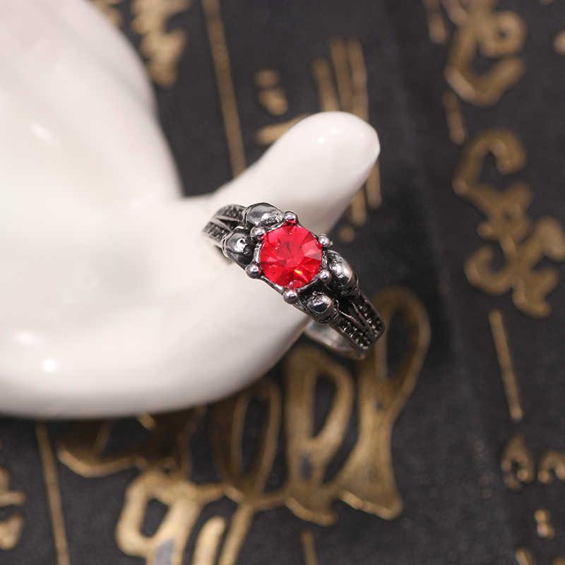 Новое Ретро красное кольцо с круглым камнем для мужчин мальчиков Skeletion готический череп мужские кольца унисекс крутые винтажные вечерние Ювелирное Украшение для ночного клуба подарки 2019