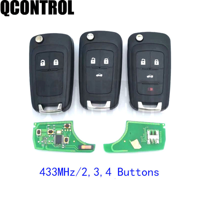 QCONTROL 2/3/4 Buttons Car Remote Key DIY for OPEL/VAUXHALL 433MHz for Astra J Corsa E Insignia Zafira C 2009 2016