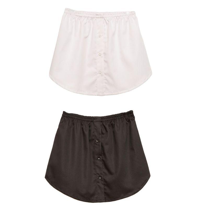 Womens A-Line Flared Curved Fake False Hem Button Down Detachable Waist Skirt