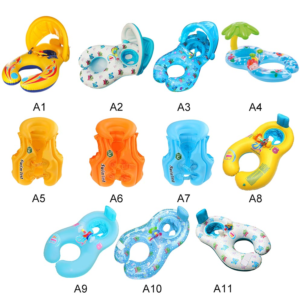 Mother Child Inflatable Ring Swimming Circle Baby Float Inflatable Swimtrainer Double Raft Rings Toy Swimming Pool Accessories
